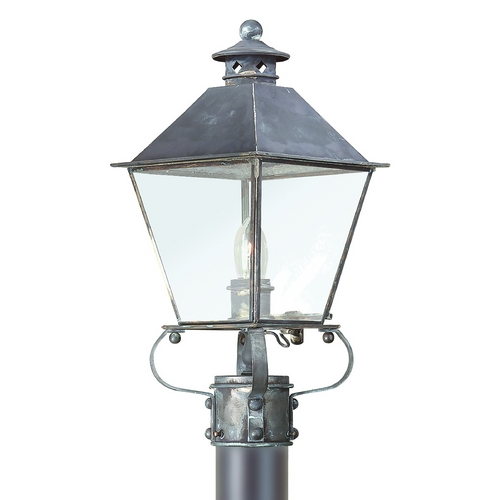 Troy Lighting Post Light with Clear Glass in Charred Iron Finish P9132CI