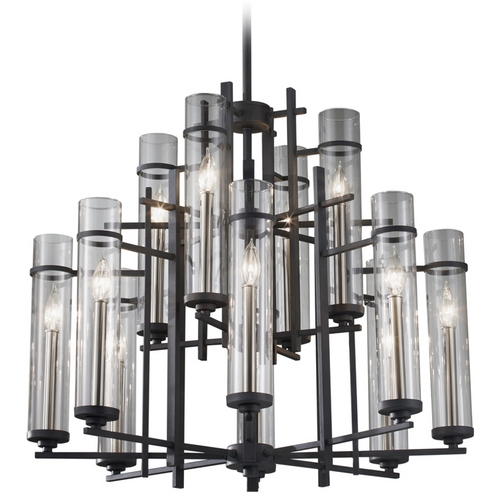 Feiss Lighting Modern Chandelier with Clear Glass in Antique Forged Iron / Aged Walnut Finish F2629/8+4AF/BS