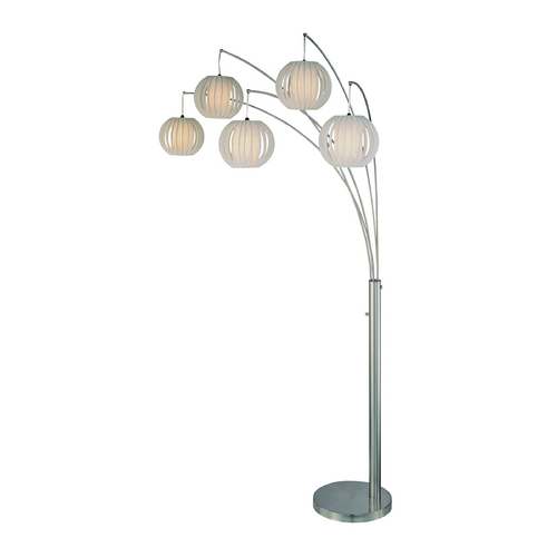 Lite Source Lighting Modern Arc Lamp with White in Polished Steel Finish LSF-8872PS/WHT