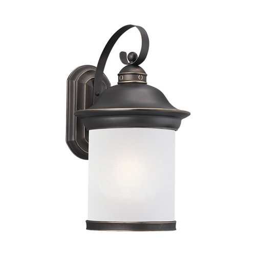 Sea Gull Lighting Outdoor Wall Light with White Glass in Antique Bronze Finish 89193BLE-71
