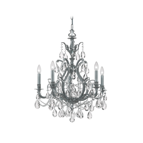 Crystorama Lighting Crystal Chandelier in Pewter Finish 5575-PW-CL-SAQ