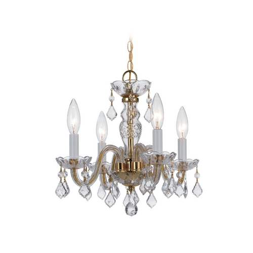 Crystorama Lighting Crystal Mini-Chandelier in Polished Brass Finish 1064-PB-CL-SAQ