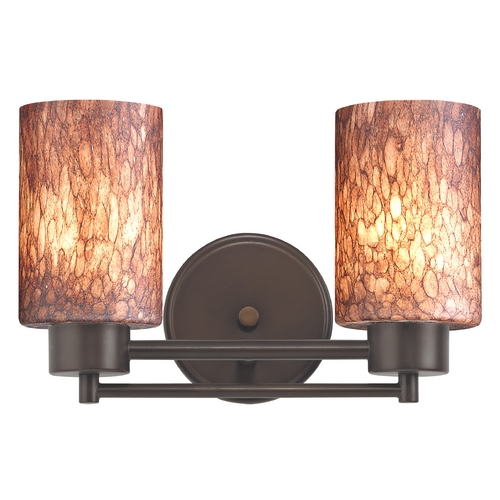 Design Classics Lighting Modern Bathroom Light with Brown Art Glass in Neuvelle Bronze Finish 702-220 GL1016C