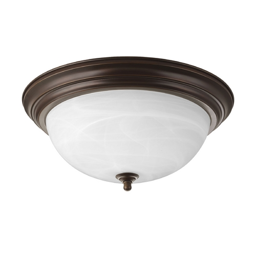 Progress Lighting Progress Flushmount Light with Alabaster Glass in Bronze Finish P3926-20