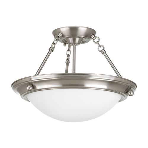 Progress Lighting Semi-Flushmount Light with White Glass in Brushed Nickel Finish P3568-09EB