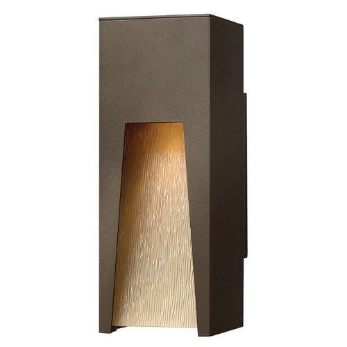 Hinkley Lighting Modern LED Outdoor Wall Light with Amber Glass in Bronze Finish 1760BZ-LED