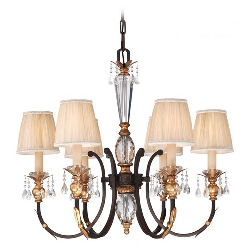 Metropolitan Lighting Crystal Chandelier in Bronze Finish with Pleated Shades N6646-258B