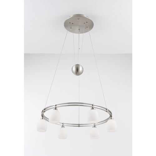 Holtkoetter Lighting Holtkoetter Modern Low Voltage Pendant Light with White Glass in Satin Nickel Finish 5556 SN G5001