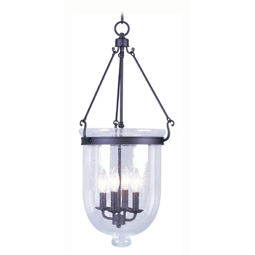 Livex Lighting Seeded Glass Pendant Light Bronze Livex Lighting 5085-07