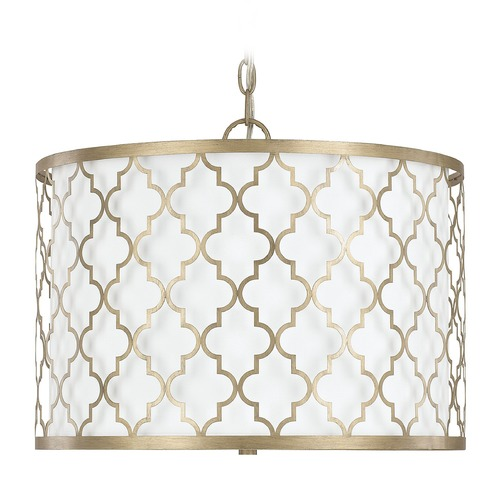 Capital Lighting Capital Lighting Ellis Brushed Gold Pendant Light with Drum Shade 4545BG-582