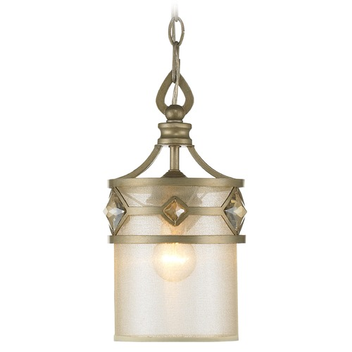 Golden Lighting Golden Lighting Coronada White Gold Mini-Pendant Light with Cylindrical Shade 6390-M1L WG