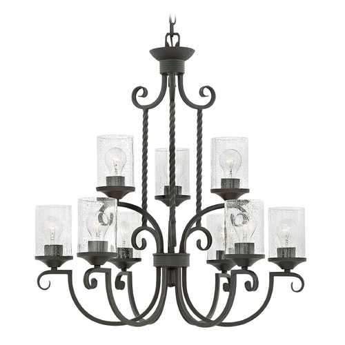 Hinkley Traditional Seeded Glass Black Chandelier 2 Tier 9Lt by Hinkley 4018OL-CL