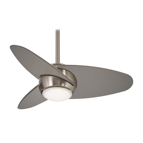 Minka Aire Minka Aire Slant Brushed Steel LED Ceiling Fan with Light F410L-BS