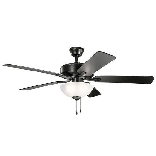 Kichler Lighting Basics Pro Select Satin Black LED 52-Inch Ceiling Fan with Light 2700K 330017SBK