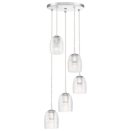 Quoizel Lighting Quoizel Realm Polished Chrome 5-Light Multi-Light Pendant with Clear Spun Glass RLM2705C