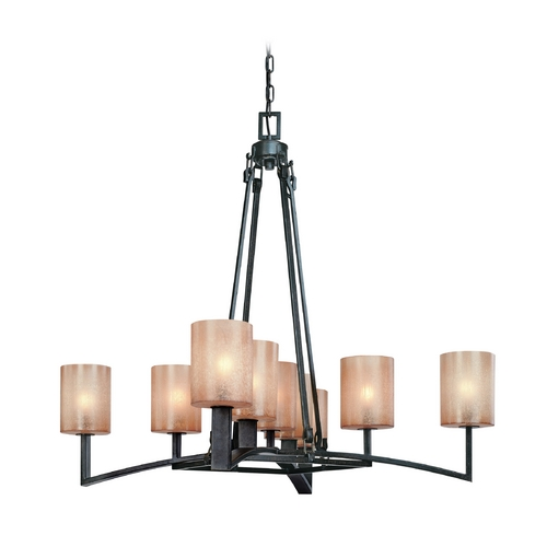 Troy Lighting Chandelier with Beige / Cream Glass in Antique Bronze Finish F1749ABZ