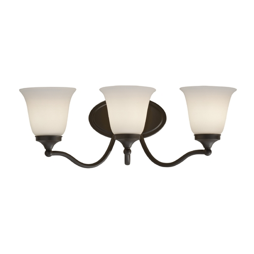 Feiss Lighting Bathroom Light with White Glass in Oil Rubbed Bronze Finish VS18503-ORB