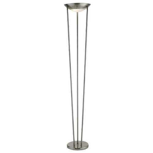 Adesso Home Lighting Modern Torchiere Lamp with White Glass in Satin Steel Finish 5233-22