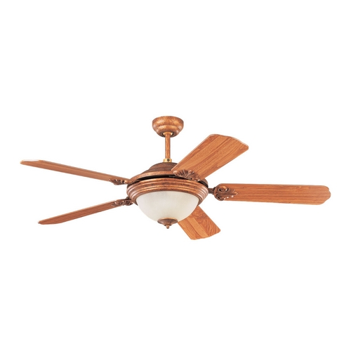 Sea Gull Lighting Ceiling Fan with Light with White Glass in Regal Bronze Finish 15358B-758
