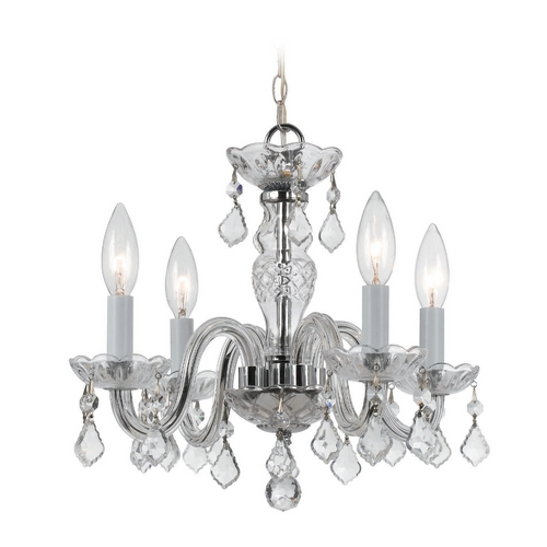 Crystorama Lighting Crystal Mini-Chandelier in Polished Chrome Finish 1064-CH-CL-MWP