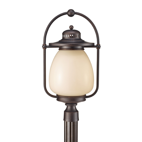 Feiss Lighting Post Light with Beige / Cream Glass in Grecian Bronze Finish OL9408GBZ