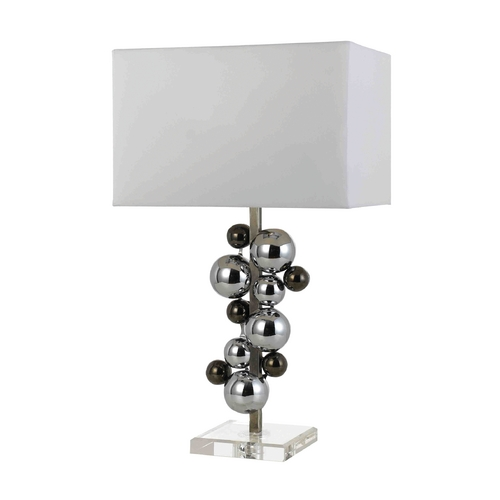 AF Lighting Modern Table Lamp with White Shade in Chrome Finish 8323-TL