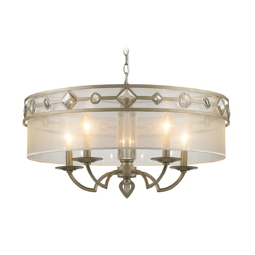 Golden Lighting Golden Lighting Coronada White Gold Pendant Light 6390-5 WG