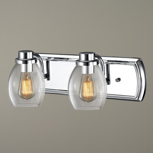 Design Classics Lighting Industrial 2-Light Vanity Light with Clear Glass in Chrome 1202-26 GL1034-CLR