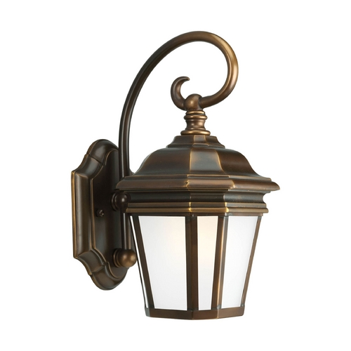Progress Lighting Outdoor Wall Light with White Glass in Oil Rubbed Bronze Finish P5685-108