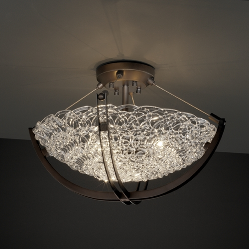 Justice Design Group Justice Design Group Veneto Luce Collection Semi-Flushmount Light GLA-9711-35-LACE-DBRZ