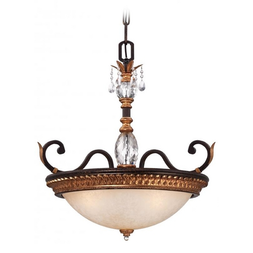 Metropolitan Lighting Pendant Light in French Bronze with Gold Leaf Finish N6647-258B