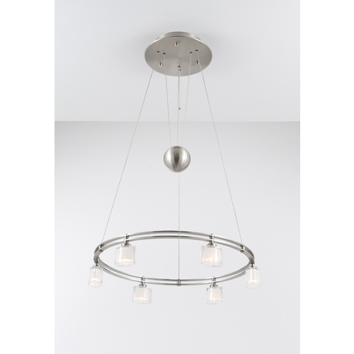 Holtkoetter Lighting Holtkoetter Modern Low Voltage Drum Pendant Light with White Glass in Satin Nickel Finish 5556 SN G5010