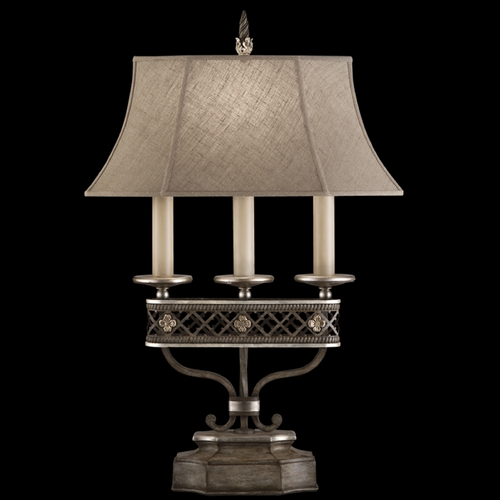 Fine Art Lamps Fine Art Lamps Villa Vista Hand Painted Driftwood with Silver Leafed Accents Table Lamp with Bell Sh 810010ST