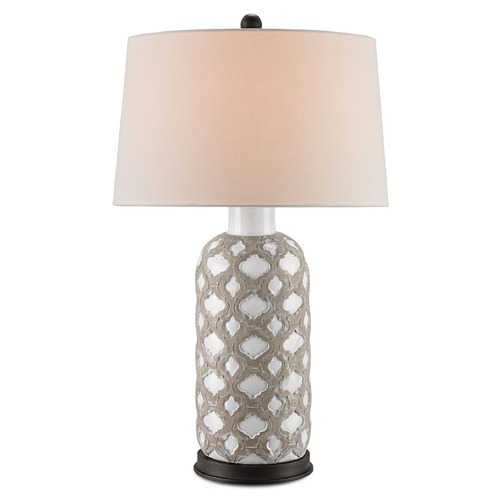 Currey and Company Lighting Currey and Company Barakat Gray/white/black Iron Table Lamp with Empire Shade 6378