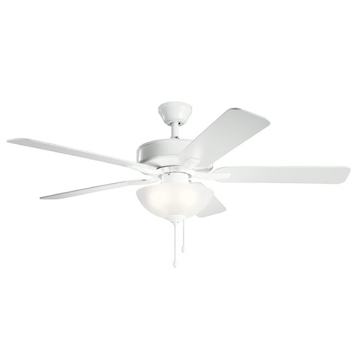 Kichler Lighting Basics Pro Select White LED 52-Inch Ceiling Fan with Light 2700K 330017WH