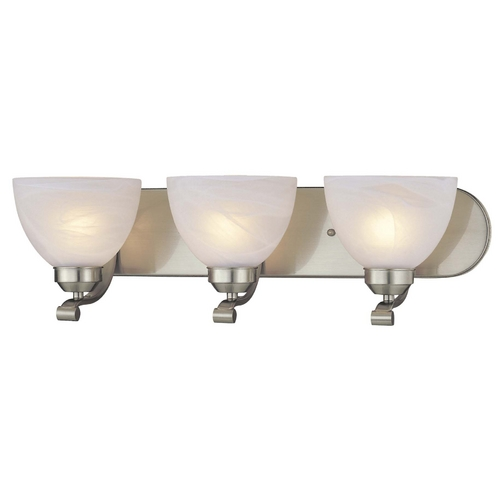 Minka Lavery 3-Lt Bathroom Light in Brushed Nickel - Etched Marble Glass 5423-84