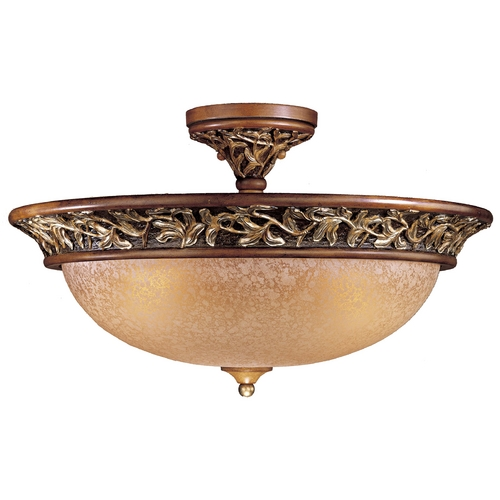 Minka Lavery Semi-Flushmount Light with Beige / Cream Glass in Florence Patina Finish 1567-477