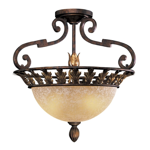 Metropolitan Lighting Semi-Flushmount Light with Beige / Cream Glass in Golden Bronze Finish N6241-355