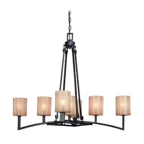 Troy Lighting Chandelier with Beige / Cream Glass in Antique Bronze Finish F1747ABZ