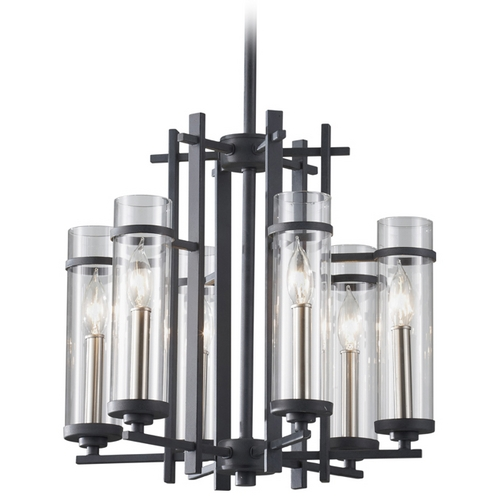 Feiss Lighting Modern Chandelier with Clear Glass in Antique Forged Iron / Brushed Steel Finish F2631/6AF/BS