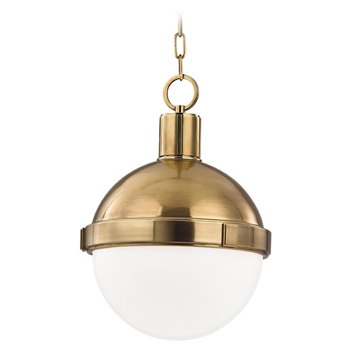 Hudson Valley Lighting Mini-Pendant Light with White Glass 609-AGB