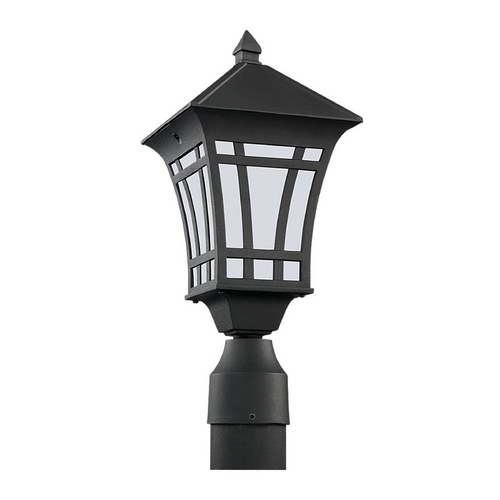 Sea Gull Lighting Post Light with White Glass in Black Finish 89231BL-12