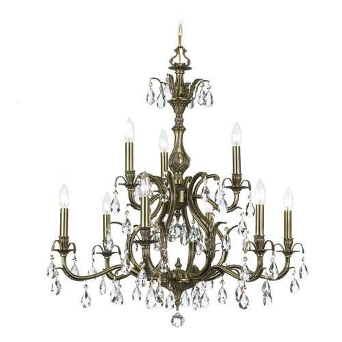 Crystorama Lighting Crystal Chandelier in Antique Brass Finish 5569-AB-CL-S