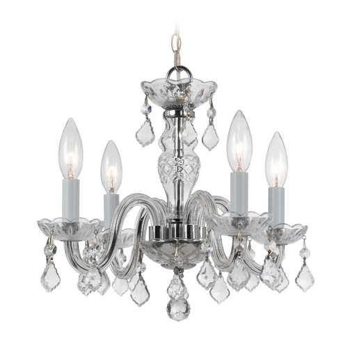 Crystorama Lighting Crystal Mini-Chandelier in Polished Chrome Finish 1064-CH-CL-S