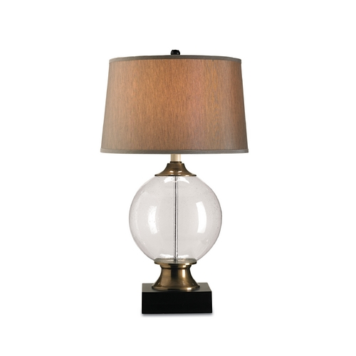 Currey and Company Lighting Table Lamp with Silver Shade in Blown Glass/black Finish 6981