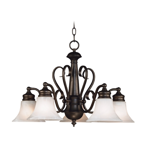 Kenroy Home Lighting Chandelier with Alabaster Glass in Burnished Bronze Finish 91395BBZ