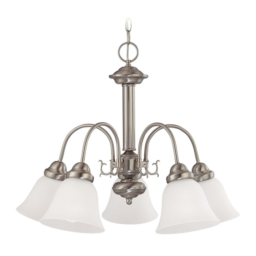 Nuvo Lighting Chandelier with White Glass in Brushed Nickel Finish 60/3290