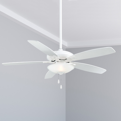 Minka Aire 52-Inch Ceiling Fan with Light with White Glass in White Finish F522-WH