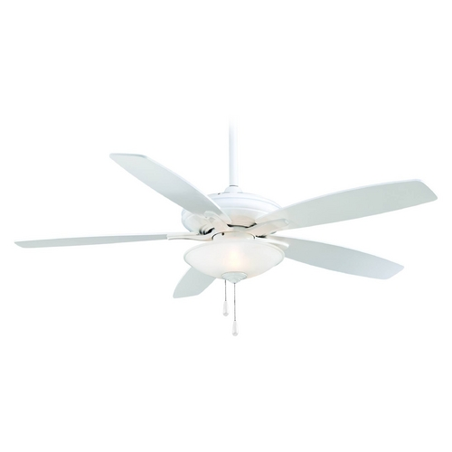 Minka Aire Ceiling Fan with Light with White Glass in White Finish F522-WH