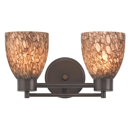 Design Classics Lighting Modern Bathroom Light with Brown Art Glass in Neuvelle Bronze Finish 702-220 GL1016MB